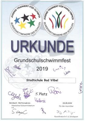 Urkunde Schwimmen 2019
